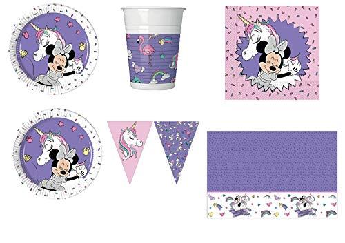 Minnie Licorne fête Kit N ° 29 CDC - 32 (32 assiettes, verres, 40 serviettes, 1 nappe Minnie, 1 bannière)