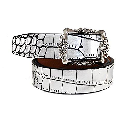 Donne Retro Pin fibbia Cintura Fashion Claasic in vera pelle cinture per ragazze Silver 105 cm