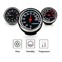 Fristee Tableau de bord voiture 3metre Plat Horloge hygromètre et un thermomètre Jauge de moniteur avec 3m à coller