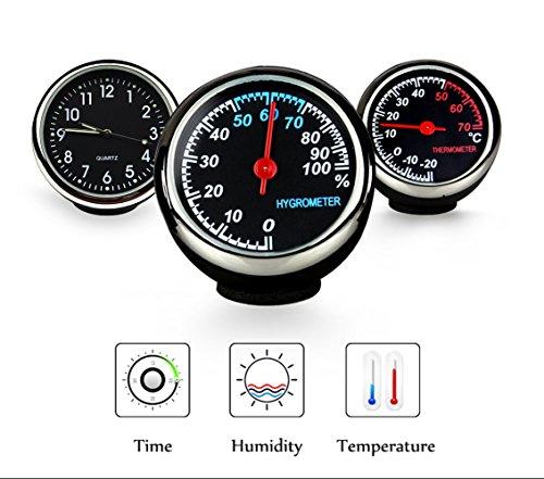 Preisvergleich Produktbild Fristee Autouhr, -Thermometer & -Hygrometer für Armaturenbrett, hochpräzise, 3M-Halterung mit 3M-Stick