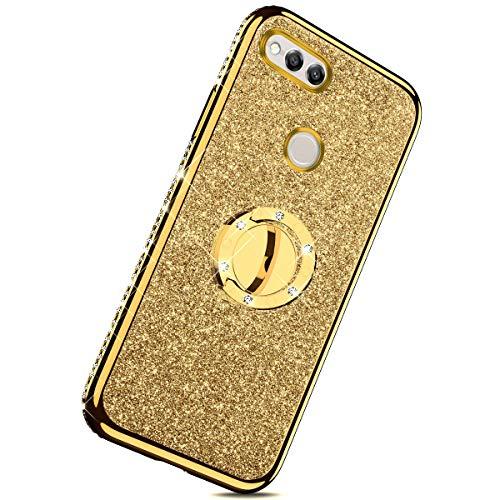 Herbests Kompatibel mit Huawei Honor 7X Glitzer Hülle Kristall Bling Diamant Schutzhülle Strass Glänzend Überzug Silikon Handyhülle Durchsichtig Handytasche mit Ring Ständer Halter,Gold