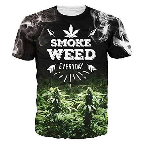 WDFZ Dimensional, Drucken, Lose, T-Shirts, Rauch, Pflanzen Blätter, Kurze Ärmel,Black,XXL (Rauch Blättern)
