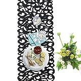 Su-luoyu Tischdecke Eckig Polyester Tischtuch Pflegeleicht Schmutzabweisend Französisch Stil Tischdecke Filz Low Carbon Tischset Anti-Rutsch-Matte für Geschirr 100cm * 30cm Blau/Dunkelgrau (Dunkelgrau)