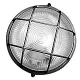 Aplique redondo de plástico con material aislante y difusor de vidrio, E27, rejilla de protección, color: negro, Max: 60W, uso externo: IP44