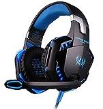 Gaming Headset, Fozela G2000 Stereo Gaming Kopfhörer mit Mikrofon LED Licht Lautstärkeregelung für PC Smartphone (Blau)