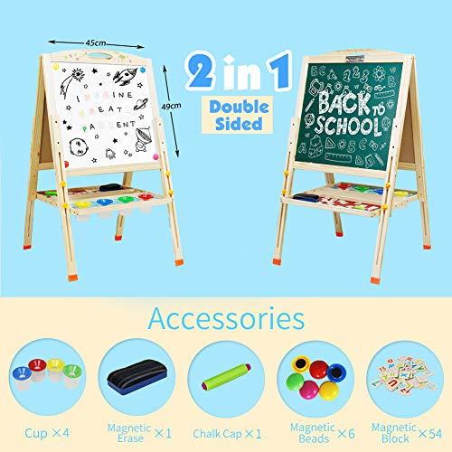 Tafel Kinder Staffelei Maltafel Magnettafel Doppelseitiger Standtafel Holzspielzeug für Kinder ab 3 4 5 6 Jahre Jungen Mädchen