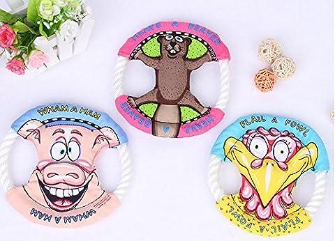 Soxid (TM) SL Rope Canvas Flyer Frisbee Disc Petit Puppy Dog Toy gros jouets pour chiens corde Frisbee pour chien deux tailles d'alimentation disque trraining chien