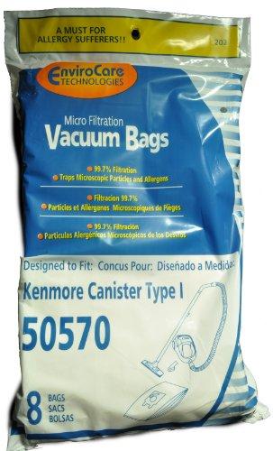 Kenmore Kanister Style 50570 Staubsaugerbeutel EnviroCare Ersatz Marke, Passend für Grills der Modelle Kenmore Bodenstaubsauger mit 50570, Staubsaugerbeutel, 99,7 Mikrofiltration Entfernt, 8 Stück Im pack - Kenmore Ersatz Beutel Staubsauger