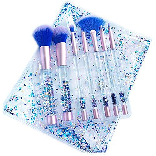 7 PCS Pinceaux de Maquillage Set + Sac, Linstar Liquide Paillettes Synthétique Kabuki Fondation Blushing Blush Eyeliner Poudre de Maquillage Pinceau Kit Beauté Outils Cosmétiques (Bleu)