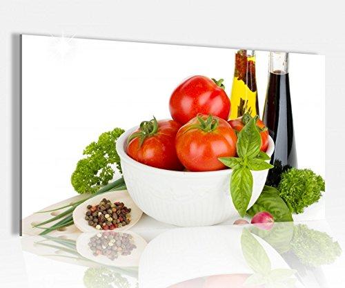 Acrylglasbild 80x50cm Küche Tomaten Salat Essig Essen Glasbild Bilder Acrylglas Acrylglasbilder Wandbild 14D241, Acrylglas Größe4:80cmx50cm