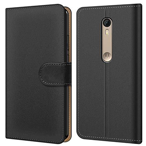 Conie BW22467 Basic Wallet Kompatibel mit Motorola Moto X Force, Booklet PU Leder Hülle Tasche mit Kartenfächer und Aufstellfunktion für Moto X Force Case Schwarz