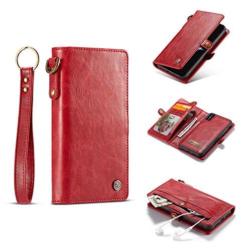 Executive-schwarz-roten Rahmen (ZiJieShiYe iPhone X Case Retro Flip Wallet Premium Ledertasche mit Magnetverschluss Kickstand Card Slots 2 in 1 für iPhone X. (Color : Red))