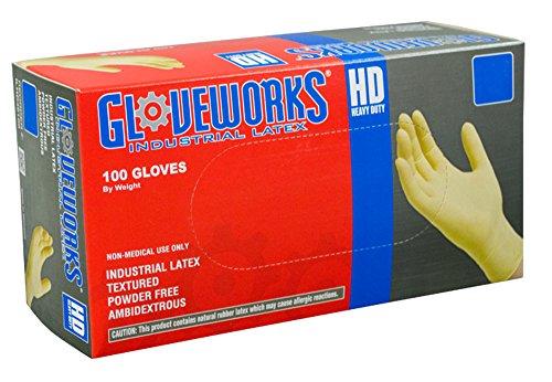 ammex–ilhd–Latex Handschuhe, Schutzhandschuhe, Nitrilkautschuk,–100/BOX, schwere Pflicht, Einweg, puderfrei, Industriequalität, 8MIL, weiß