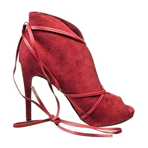 High Burgunderrot Heel Sexy cm String 10 Stiletto Damen Schuhe Tanga Angkorly Offen Stiefeletten wqpZTg4xBA