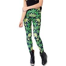 HuntGold - Leggins estrechos para mujer, talla M, diseño con estampado de hojas de arce de color verde