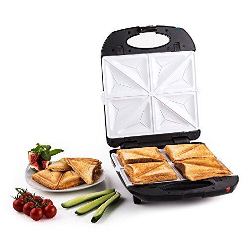 Klarstein Trinity 3 in 1 • Sandwich Maker • Sandwichtoaster • 3 austauschbare Heizplattenpaare • für bis zu 4 Sandwiches/Waffeln • 1300W Leistung • bis zu 180° aufklappbar • Fettablauf • schwarz
