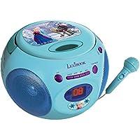 Disney Frozen Reproductor Radio CD con Micrófono, Asa De Transporte, Color Azul (Lexibook RCD102FZZ)