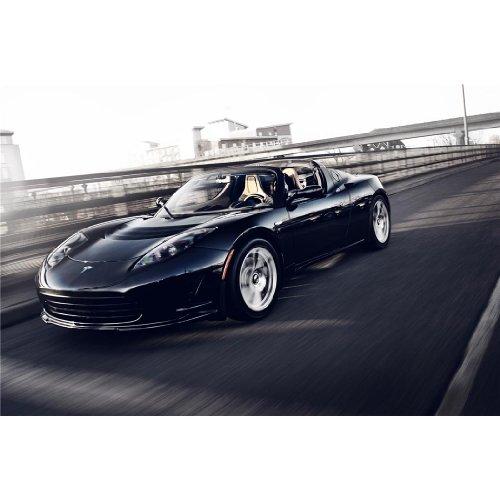Tesla Roadster (36inch x 24inch / 90cm x 60cm) Silk Print Poster - Seide Plakat - 25E553