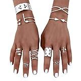 DAY.LIN Ringe Für Damen Ring Damen Der Herr Der Ringe 6pcs/Set Frauen böhmischen Vintage Silver Stack Ringe über Knöchel blau Ringe Set
