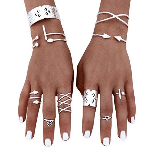 Skinny Gürtel Rote (Ringe Für Damen Ring Damen Der Herr Der Ringe DAY.LIN 6pcs / Set Frauen böhmischen Vintage Silver Stack Ringe über Knöchel blau Ringe Set)