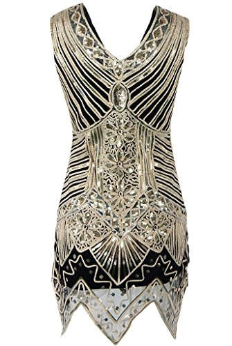 OOFIT Damen 1920er Gatsby Pailletten Kleider, V-Ausschnitt Perlen Franse Flapper Charleston Kleid, Schwarz, Gr.S-XL(EU36-42) Kurz-schwarz