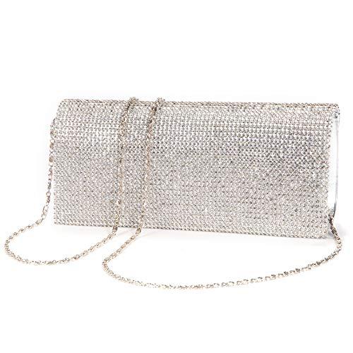 Luxus glitzer Damen Tasche Clutch Damentasche Abendtasche Party Hochzeit Handtasche Brauttasche mit Strass PU/Satin, M, Silber