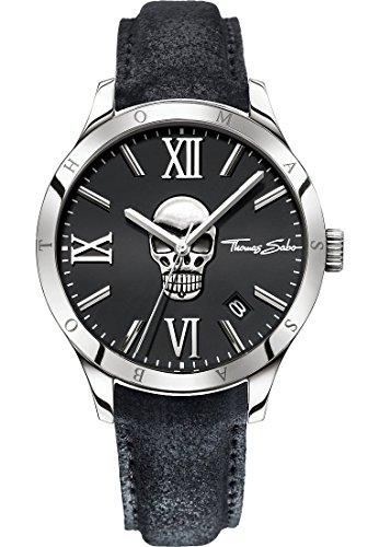 Thomas Sabo Herren-Armbanduhr Rebel Icon silber schwarz Analog Quarz
