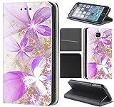 CoverFix Premium Hülle für Samsung Galaxy J5 (Modell 2017) J530F Flip Cover Schutzhülle Kunstleder Flip Case Motiv (1000 Blume Lila Gold Weiß)