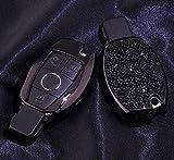 Royalfox Schlüsselgehäuse mit 2 3 Tasten, 3D-Schlüssellos, für Mercedes-Benz A C E S Class Serie, GLK CLA GLA GLC GLE CLS SLK AMG Serie, mit Schlüsselanhänger, schwarz