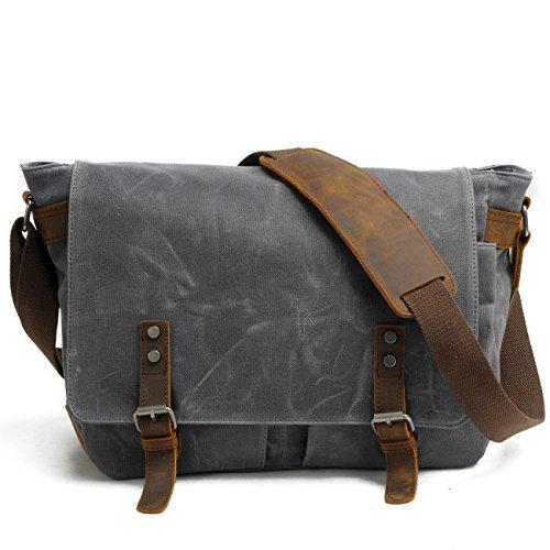 Tekon Britische Art Retro Mens-Segeltuch-Leder-Kurier-Beutel für das Reisen, das kampiert Dark grey