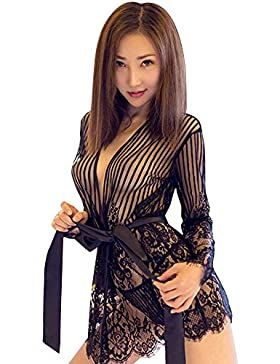 SKY Hot !!! Lencería Mujer Pijamas De Seda Encaje Vestido Floral Vestido Pijamas Cuello de encaje europeo y americano...