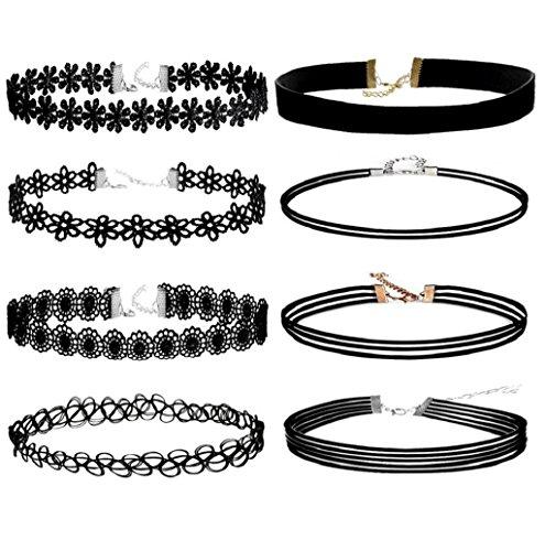 Rosennie Spitze Halskette Damen Samt Kette Tattoo Choker Set elegant Charm Halskette Set Strecken Samt Gotisch Tätowierung Spitze Halsband (11 Stück)