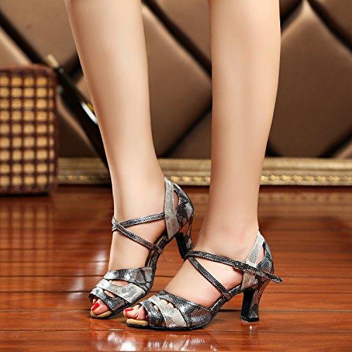 Minitoo - Ballroom donna Grey/Black-7cm Heel