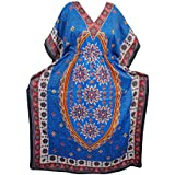 Mogul Interior Caftan Boho Floral Printed Kimono Sleeves Kaftan Dress Free Size