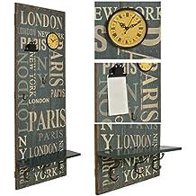 "ts-ideen Perchero de pared o de pasillo ""London"" madera franja de ganchos 110 x 40 cm Shabby"