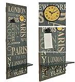 ts-ideen 2377 Appendiabiti da parete 'London' 110x40 cm stile vintage effetto Shabby con Orologio e pinza portamemo.
