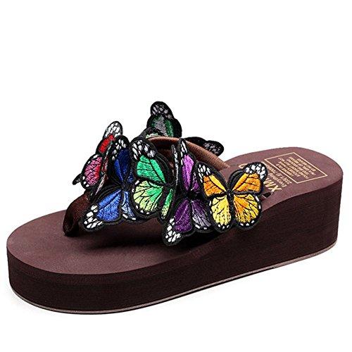 Sommer Handgemachte Schmetterling Flip Flops Strand Schuhe Frauen Hausschuhe Rutschfeste Dicke Plattform High Heels Boho Keile Folien,Brown,38