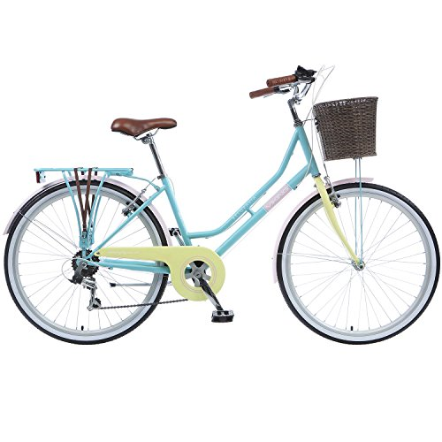 26 Zoll Cityrad Viking Belgravia 6 Gang Damenfahrrad Mädchenrad Citybike mit Korb, Rahmengrösse:18 Zoll, Farbe:hellblau / gelb