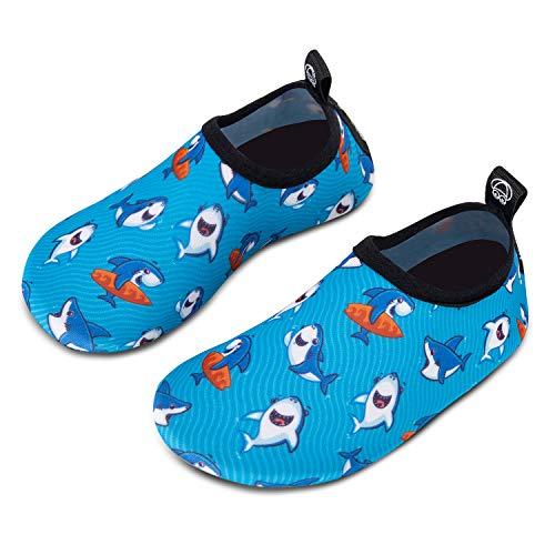 HMIYA Kinder Badeschuhe Wasserschuhe Strandschuhe Schwimmschuhe Aquaschuhe Surfschuhe Barfuss Schuh für Jungen Mädchen Kleinkind Beach Pool(Blau 26 27)