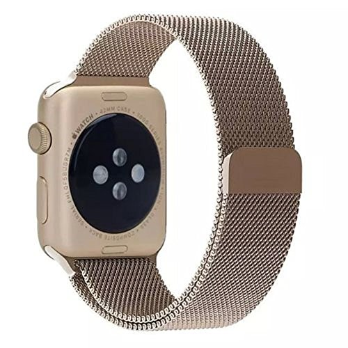 AWStech Apple Watch Strap 38mm, Apple Watch 2 Armband 38mm, Retro Golden Sportuhr Watchband, Milanaise Mesh Edelstahl Handgelenk-Band Replacement, Sport & Edition