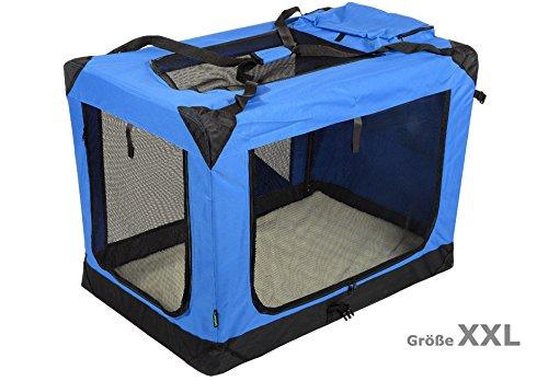 Jespet Hundetransportbox faltbar - soft Transportbox für Tiere– klappbare Transporttasche Hunde, Katze & Kleintier XXL Royalblau