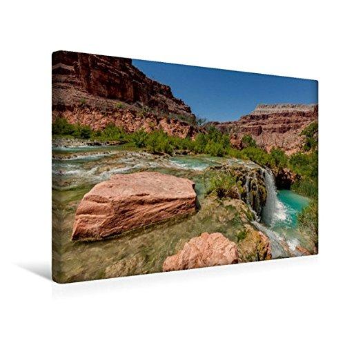 Calvendo Premium Textil-Leinwand 45 cm x 30 cm Quer, Havasupai Falls, Grand Canyon, Arizona | Wandbild, Bild auf Keilrahmen, Fertigbild auf Echter Leinwand, Leinwanddruck Orte Orte