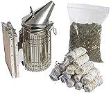 Imkado Imker Set M - Premium Edelstahl-Smoker, Rauchstoff, Anzünder - Ideal für Hobbyimker