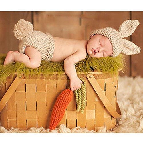 ZEARO Neugeborenen Fotografie Requisiten Bunny Stricken Kostüm Set Kaninchen Foto Fotografie Prop Hüte Outfits (Bunny Outfit Für Baby)