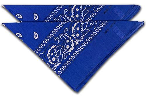 FashionCHIMP Nicki-Halstuch aus 100% Baumwolle im 2er Set, Unisex Bandana, AZO-Frei (Royal-Blau)