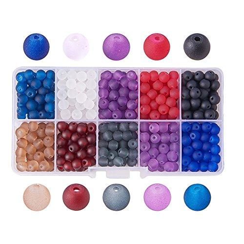 PandaHall 1Box 250 Stück 8mm Glas-Perlen rund bunt für Modeschmuck, gemischte Farben, Bohrung:1,3-1,6mm, ca. 250 Stück/Box. 6mm Colore Misto#1