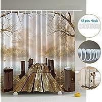 Cortina de Ducha Impermeable Resistente al Moho, ZSZT Cortinas Baño de Tela 180X180cm Poliéster 3D Diseño Puente de madera con 12 Anillos