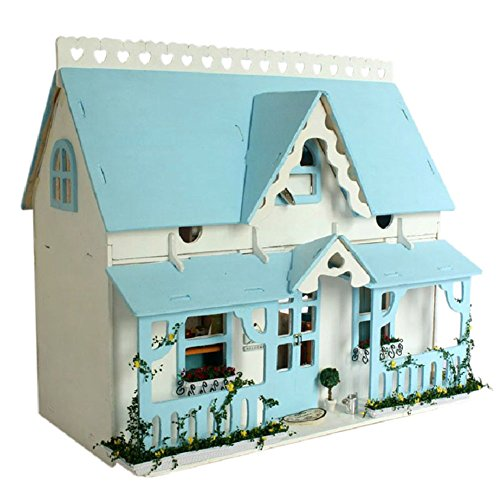 DIY Wooden DollHouse, Blue House Model Handcraft Miniature Kit with Voice Controller Music box (Light Blue Box Music)