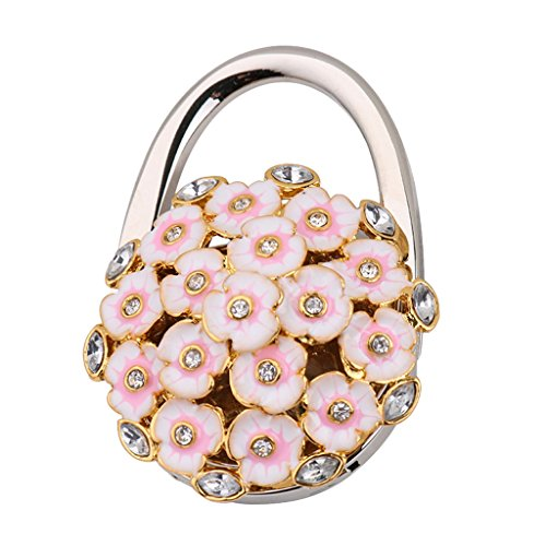 3d Falttasche Kleiderbügel Handtasche Tabelle Haken Tischhalter Rosa Blume