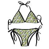 Women Swimwear Chameleon Reptile Sexy Sexy Bikini Sets 2 Piece Bathing Swimsuits Tie Back Bikinis